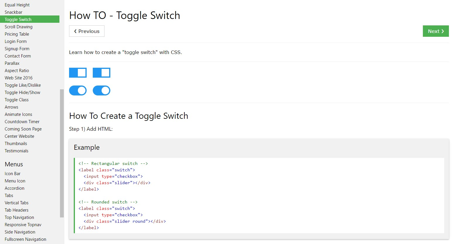 Exactly how to  provide Toggle Switch